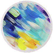 Colorful Rain Fragment 5. Abstract Painting Round Beach Towel