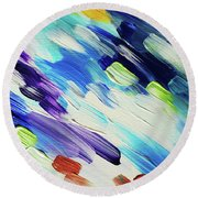 Colorful Rain Fragment 6. Abstract Painting Round Beach Towel