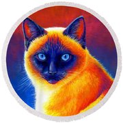 Colorful Siamese Cat Round Beach Towel