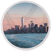 Colorful Sunrise Over The New York Skyline And The Statue Of Lib Round Beach Towel