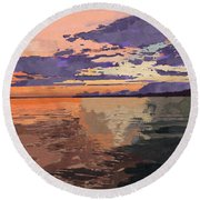 Colorful Sunset Over The Gulf Of Mexico Round Beach Towel