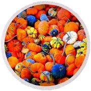 Colorful Tiny Pumpkins Round Beach Towel