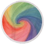 Colorful Wave Round Beach Towel