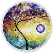 Colorful Whimsical Original Landscape Tree Painting Purple Reign By Megan Duncanson Round Beach Towel
