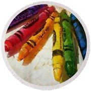 Colorwheel Crayons Round Beach Towel