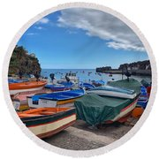 Colourful Boats Round Beach Towel