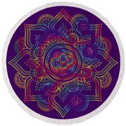 Colourful Rainbow Mandala Lavender Round Beach Towel