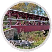Colvin Covered Bridge Round Beach Towel