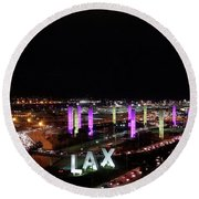 Coming And Going In The Heart Of L A At Night-time Round Beach Towel