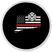 Connecticut Firefighter Shield Thin Red Line Flag Round Beach Towel