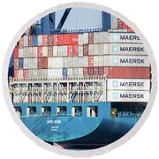 Container Ship Round Beach Towel