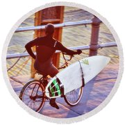 Contemplating The Surf Round Beach Towel