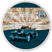 Convertible Vintage Car Round Beach Towel