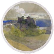 Conway Castle - Digital Remastered Edition Round Beach Towel