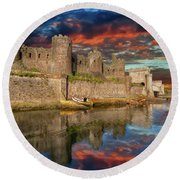 Conwy Castle Sunset Round Beach Towel by Adrian Evans