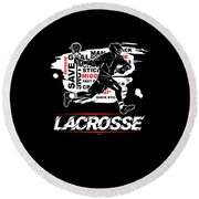 Cool Lacrosse Player Outdoors Sports Team Typography Round Beach Towel