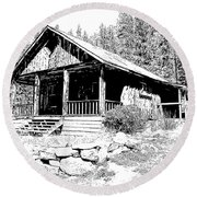 Coolidge Ghost Town Montana Round Beach Towel