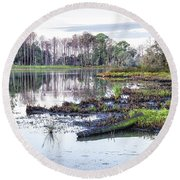 Coosaw - Early Morning Rice Field Round Beach Towel