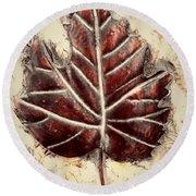 Copper Leaf Round Beach Towel by Marian Palucci-Lonzetta