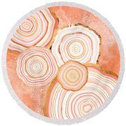 Coral Agate Abstract Round Beach Towel