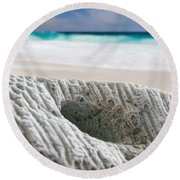 Coral By The Sea Round Beach Towel