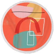 Coral Modern Abstract 2- Art By Linda Woods Round Beach Towel