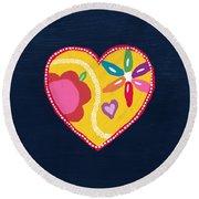 Corazon 4- Art By Linda Woods Round Beach Towel