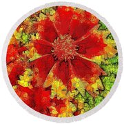 Coreopsis Abstract Round Beach Towel