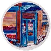 Corner Cafe Clark And Fairmount Wilensky's Winter Scene Habs Hockey Art C Spandau Quebec Artist Round Beach Towel