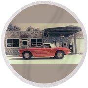 Corvette Cafe - C1 - Vintage Film Round Beach Towel