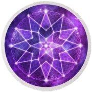 Cosmic Purple Geometric Seed Of Life Crystal Lotus Star Mandala Round Beach Towel
