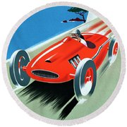 Cote D Azur, French Rivera Vintage Racing Poster Round Beach Towel
