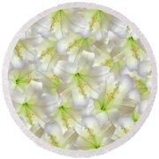 Cotton Seed Lilies Round Beach Towel