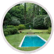 Courtyard Entrance Round Beach Towel