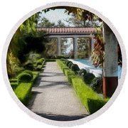 Painted Texture Courtyard Landscape Getty Villa California  Round Beach Towel