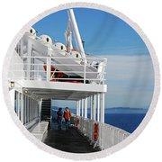 Cozy Walk -  Painterly Ferry To Victoria Round Beach Towel