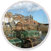 Crail Harbour And Lobster Pots Round Beach Towel