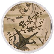 Cranes And Birds At Pond 1880 Round Beach Towel