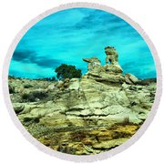 Crazy Rock Formations In New Mexico Round Beach Towel