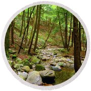 Creek In Massachusetts 2 Round Beach Towel