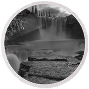 Crescent Falls Light Rays Through The Mist Black And White Round Beach Towel