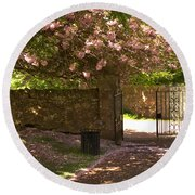 Crichton Church Entrance Gate And Tree In Pink Bloom Round Beach Towel