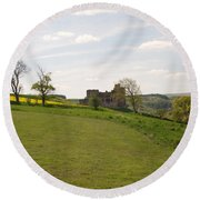 Crighton Castle Ruins And Hills, Midlothian Round Beach Towel