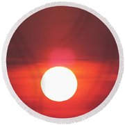 Crimson Sun Round Beach Towel