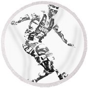 Cristiano Ronaldo Juventus Water Color Pixel Art 3 Round Beach Towel