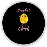 Crochet Chick 2 Round Beach Towel