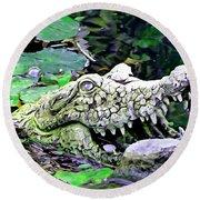 Crocodile Profile. Round Beach Towel