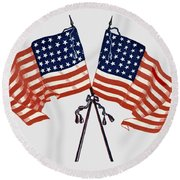 Crossed Civil War Union Flags 1861 - T-shirt Round Beach Towel