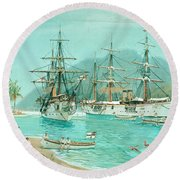 Cruiser And Gunboat Hoist On Ponape The German Flag Round Beach Towel