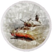 Crusader Tank, World War Two Round Beach Towel